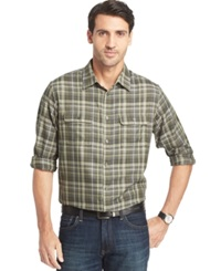 Van Heusen Long Sleeve Heathered Plaid Shirt Olive