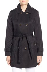 Women's London Fog Quilt Detail Double Breasted Trench Coat Black