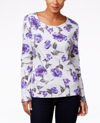 Karen Scott Floral Print Long Sleeve Top Only At Macy's Pale Grey