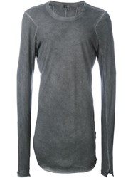 Lost And Found Ria Dunn Long Fit 'Rib Back' Panel Detail Jumper Grey
