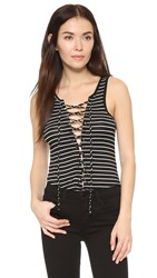 Lna Lace Up Tank Black White Stripe
