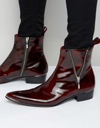 Jeffery West Adam Ant Leather Zip Boot Red