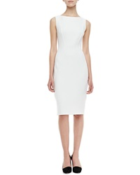 Lela Rose Sleeveless Boat Neck Sheath Dress Ivory Ivory 6