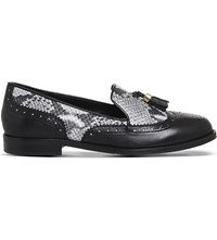 Office Ringo Leather Snake Embossed Loafers Black Leather Snake
