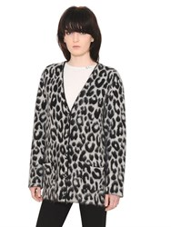 Saint Laurent Leopard Wool And Mohair Jacquard Cardigan
