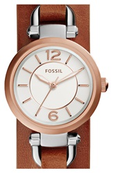 Fossil 'Georgia' Round Leather Cuff Watch 26Mm Brown Rose Gold