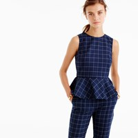 J.Crew Peplum Top In Windowpane Print