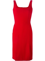 Alexander Mcqueen Square Neck Pencil Dress Red