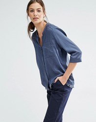 Boss Orange Evena Frayed Hem V Neck Blouse With Pocket Blue Navy