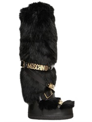 Moschino Faux Fur And Leather Snow Boots