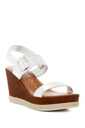 Italian Shoemakers Buckled Wedge Sandal Metallic