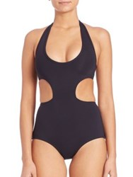 Proenza Schouler One Piece Cutout Halter Swimsuit Black