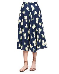Michael Kors Camellia Print Ruffled Circle Skirt Indigo White Yellow Women's