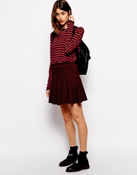 Ganni Skater Skirt In Textured Tweed Syrahredblack