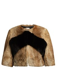 Red Valentino Rabbit And Fox Fur Cropped Coat Brown
