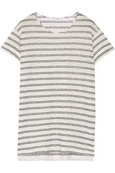 Vince Striped Slub Linen T Shirt Off White