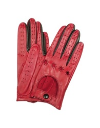 Forzieri Women's Red And Black Perforated Italian Leather Driving Gloves