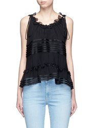 Chloe Satin Stripe Silk Crepon Ruffle Sleeveless Top Black