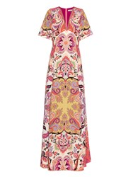 Etro Patchwork Paisley Print Silk Crepe Long Dress
