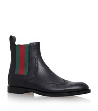 Gucci Scotch Web Chelsea Boots Male Black
