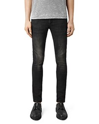 Allsaints Print Cigarette Skinny Fit Jeans In Jet Black