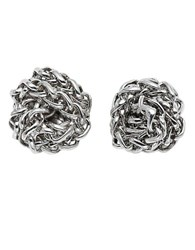 Lauren Ralph Lauren Silvertone Chain Link Knot Stud Earrings