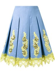 Dress Camp Floral Applique Pleated Skirt Blue