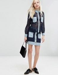 Sister Jane Carnaby Skirt In Crochet With Denim Trims Navy
