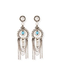 Dannijo Monterosso Chain Drop Statement Earrings Turquoise Clear