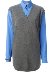 N 21 N.21 Front Knit Vest Shirt Blue