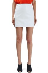 Topshop Women's Boutique Leather Miniskirt White