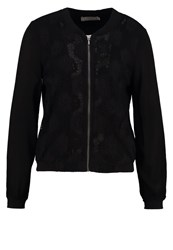 Cream Bomber Jacket Pitch Black