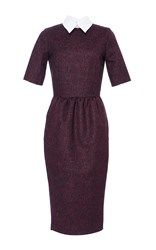 Stella Jean Tirare Collared Dress Burgundy