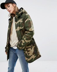 Carhartt Wip Oversized Smith Hooded Parka Coat In Camo Print Green