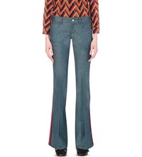 Gucci Striped Flared Low Rise Jeans Dark Vermont