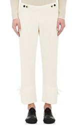 J.W.Anderson Men's Lace Up Rib Knit Pants Ivory