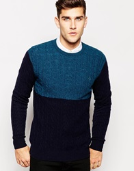 Jack Wills Jumper In Cable Knit Navy Block Navyblock