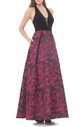Js Collections Women's Halter Neck Jacquard Ballgown
