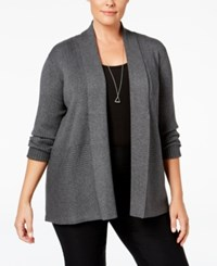 Jm Collection Plus Size Ribbed Open Front Cardigan Only At Macy's Charcoal Heather