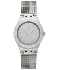Swatch Women's Swiss Power Tracking Stainless Steel Mesh Bracelet Watch 33Mm Yls187m Silver