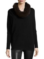 Saks Fifth Avenue Fox Fur And Cashmere Cowlneck Sweater Black