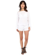 Vitamin A Swimwear Solana Romper Cover Up Eco Linen White Women's Jumpsuit And Rompers One Piece