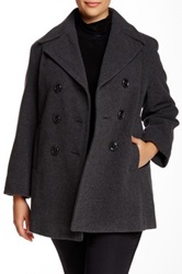 Kenneth Cole Wool Blend Peacoat Plus Size Gray