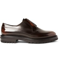 Burberry Edgeware Lug Soled Glossed Leather Derby Shoes Brown