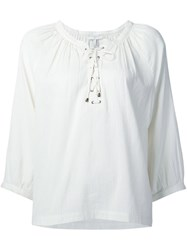 Joie Lace Up Neck Blouse White