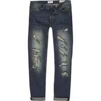 Only And Sons River Island Mens Blue Slim Fit Ripped Jeans