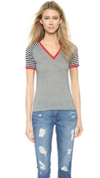 Harvey Faircloth Vneck Raglan Tee Shirt Heather Grey