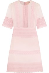 Giambattista Valli Guipure Lace Paneled Crepe And Chiffon Mini Dress Pink