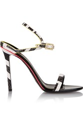 Emilio Pucci Neon Trimmed Snake Effect Leather Sandals Black