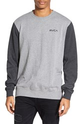 Men's Rvca 'Circle Type' Graphic Crewneck Sweatshirt Grey Noise